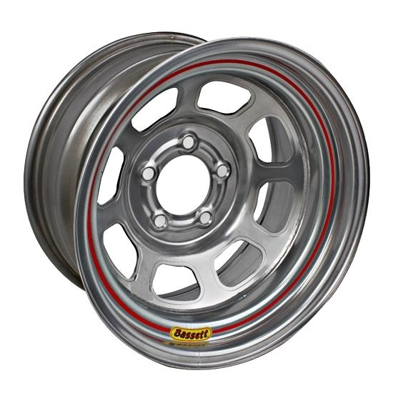 Bassett D58DC2S 15X8 Dot D-Hole 5 on 4.75 2 In Backspace Silver Wheel