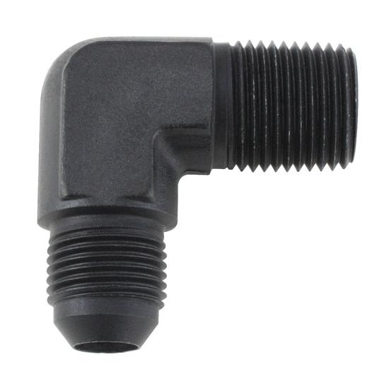 Black 90 Degree -10 AN Flare to 1/2 Inch NPT Pipe Adapter Fitting