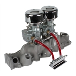 Two Plain 9 Super 7   Carbs, Offenhauser 1075 Dual Intake, 1949-53 Ford V8