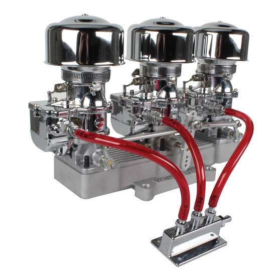 Three Chrome 9 Super 7   Carbs to 4 Barrel Intake Adapter, Complete Kit