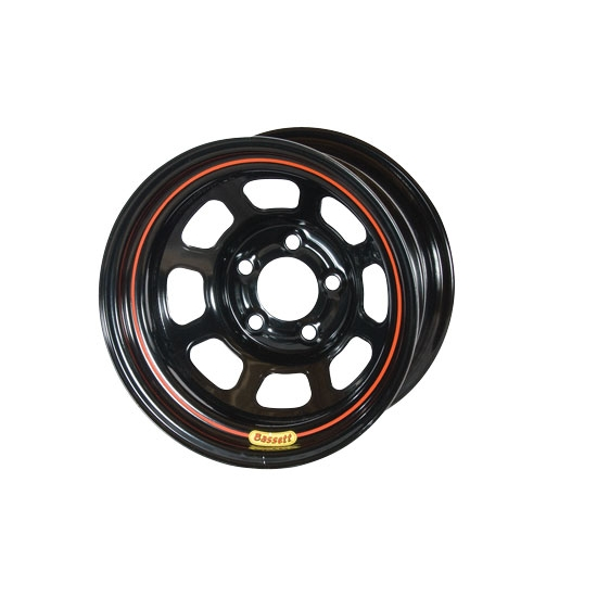 Bassett 48SN5 14X8 D-Hole 5 on 100mm 5 Inch Backspace Black Wheel