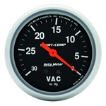 Auto Meter 3484 Sport-Comp Mechanical Vacuum Gauge, 2-5/8 Inch