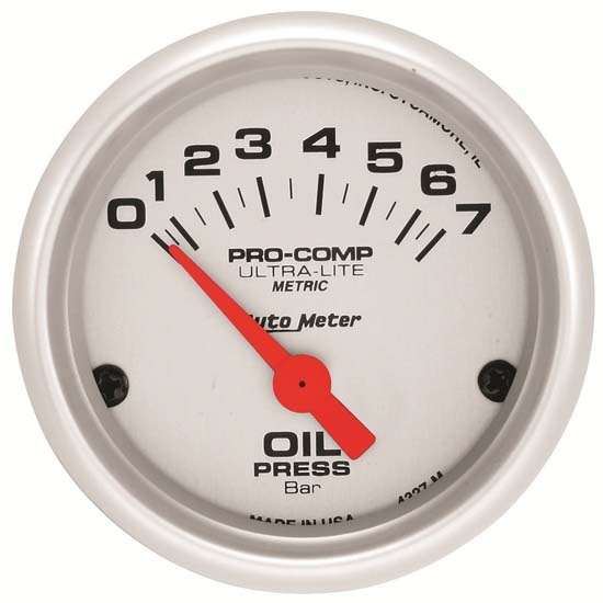 Auto Meter 4327-M Ultra-Lite Air-Core Oil Pressure Gauge, 2-1/16 Inch