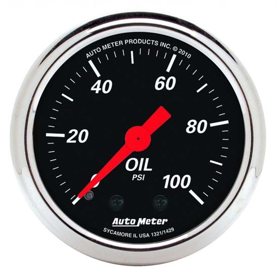 Auto Meter 1429 Designer Black Mechanical Oil Pressure Gauge