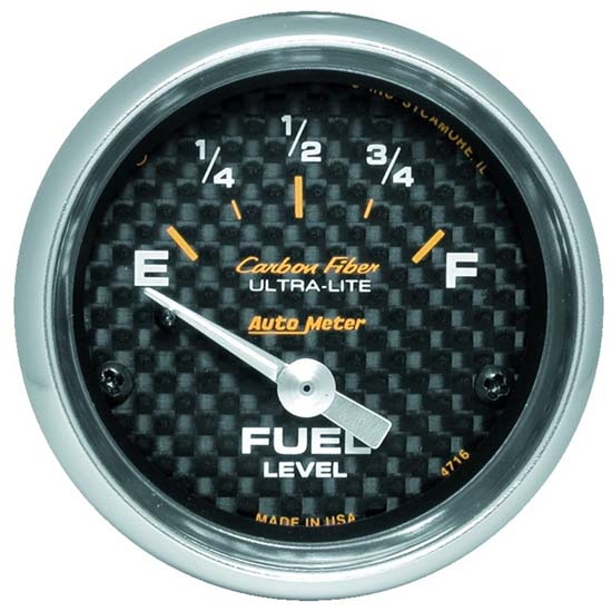 Auto Meter 4716 Carbon Fiber Air-Core Fuel Level Gauge, 2-1/16 Inch