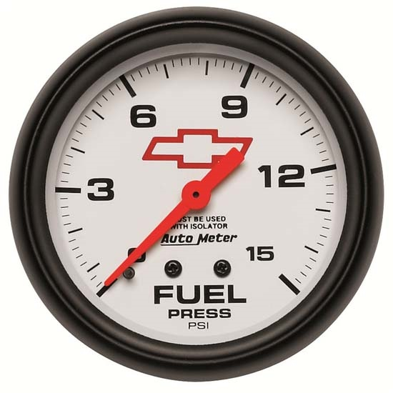 Auto Meter 5813-00406 GM White Mechanical Fuel Press Gauge w/Isolator