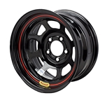 Bassett 57RF375L 15X7 Dot DHole 5on4.5 3.75 In BS Black Beadlock Wheel