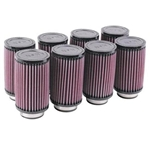 K&N 6 Inch Single Type Injector Stack Air Filters, 2-1/4 Inch, Set/8