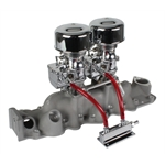 Chrome 9 Super 7 Carbs, Offenhauser 1075 Dual Intake Kit, 1949-53 Ford