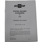 OER L1964A 1964 Chevrolet Nova Accessory Price List