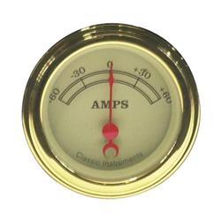 Classic Instruments VT66GSLF Vintage Ammeter Gauge-2-1/8 In -60-60 AMP