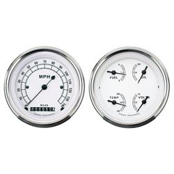 Classic Instruments CW02SLF White Series Quad Gauges, 3-3/8 Inch