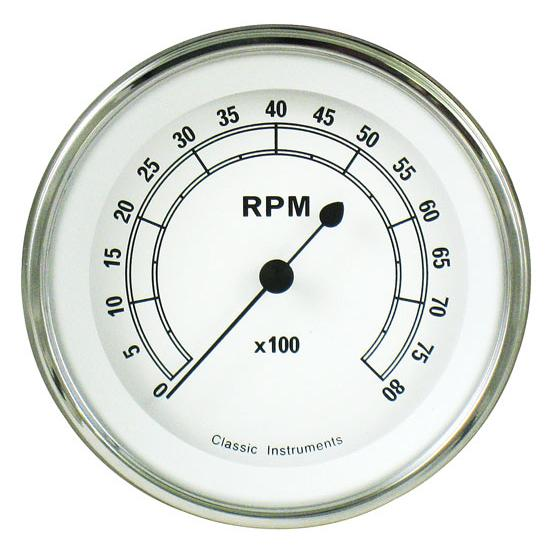 Classic Instruments CW80SLF Classic White Series 8000 RPM Tach
