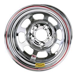 Bassett Chrome D-Hole Wheel 15x8, 5 on 4.75 Inch, Non Beadlock