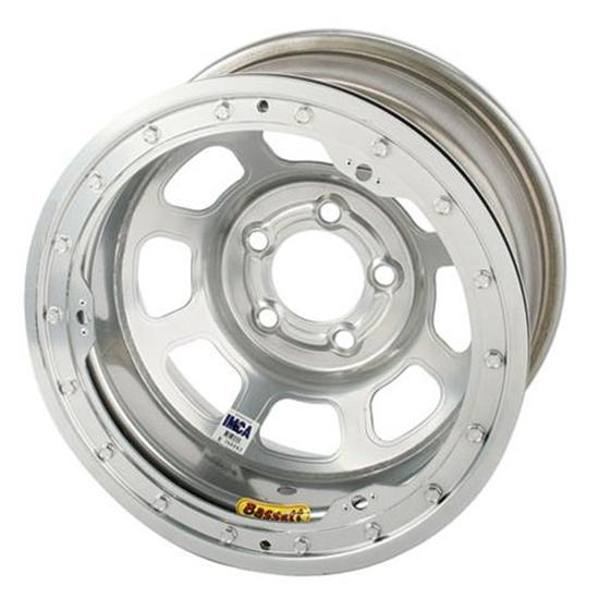 Bassett D-Hole IMCA Approved Wheel, 15 x 8, 5 on 4-3/4, Beadlock, Silver