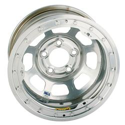 Bassett D-Hole IMCA Approved 15 Inch Wheel, 15x8, 5 on 5, Beadlock, Silver