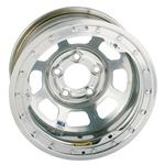 Bassett D-Hole IMCA Approved Wheel, 15 x 8, 5 on 5, Beadlock, Silver