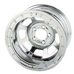 Bassett Chrome D-Hole Wheel, 15x8, 5 on 4-3/4 Inch, Beadlock