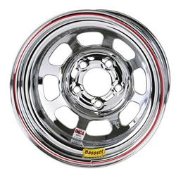 Bassett Chrome Wheel - 15x8, 5 on 5 Inch D-Hole, Non Beadlock