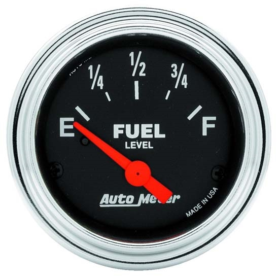 Auto Meter 2516 Traditional Chrome Air-Core Fuel Level Gauge, 2-1/16