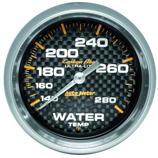 Auto Meter 4831 Carbon Fiber Mechanical Water Temperature Gauge