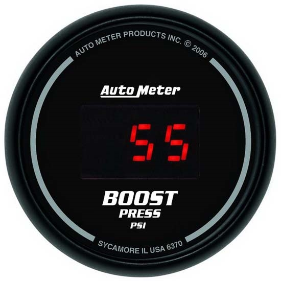 Auto Meter 6370 Sport-Comp Digital Digital Boost Gauge, 60 PSI, 2-1/16