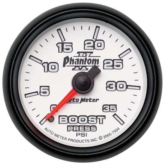 Auto Meter 7504 Phantom II Mechanical Boost Gauge, 35 PSI, 2-1/16 Inch
