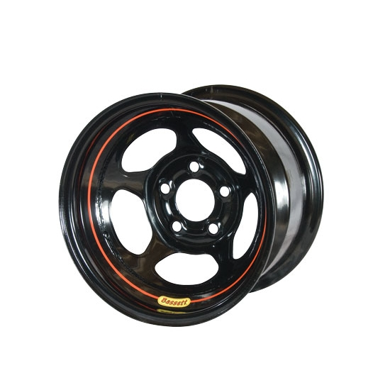 Bassett D58A54 15X8 Dot Inertia 5 on 5 4 Inch Backspace Black Wheel