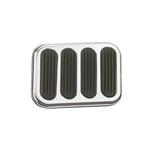 Lokar SG-6017 X-Large Steel Brake Pedal Pad w/Rubber Inserts, Chromed