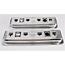 Chrome 1987-Up Small Block Chevy Centerbolt Valve Covers, 2-Hole