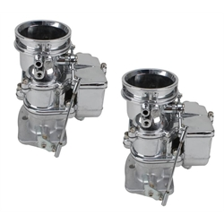 Pair of Secondary 9 Super 7 3-Bolt 2-Barrel Carburetors, Chrome Finish