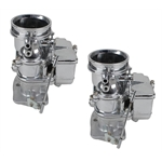 Pair of 9 Super 7   Secondary 3-Bolt 2 Barrel Carburetors, Chrome Finish