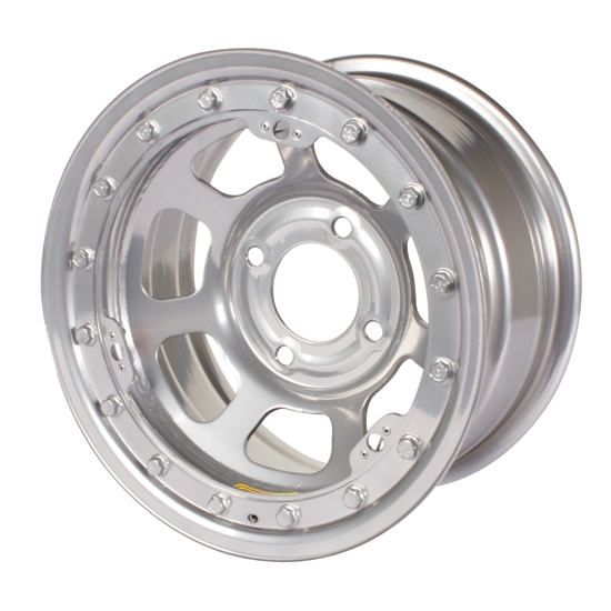 Bassett 58DT4SL 15X8 D-Hole 4 on 4.5 4 Inch BS Silver Beadlock Wheel