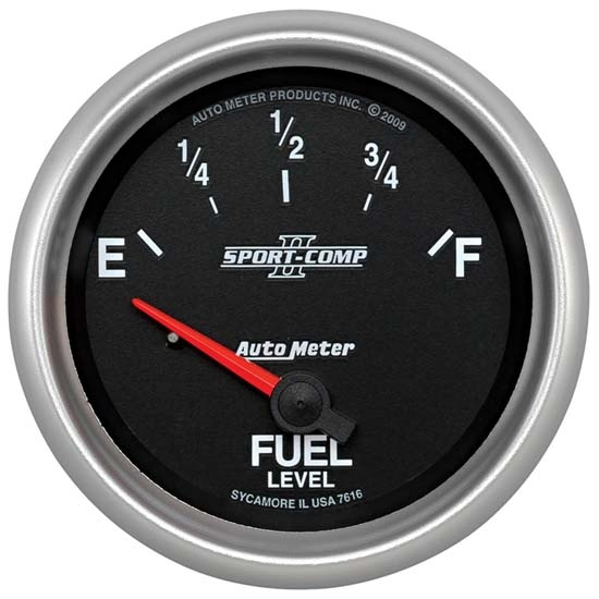Auto Meter 7616 Sport-Comp II Air-Core Fuel Level Gauge, 2-5/8 Inch