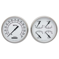 Classic Instruments CT47CW52 Pickup Gauge Sets, 47-53 GM, White