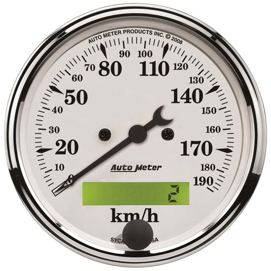Auto Meter 1688-M Old-Tyme White Air-Core Speedometer, 3-1/8 Inch