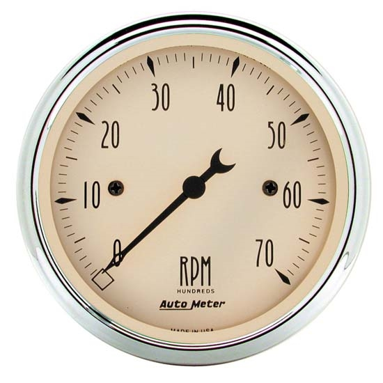 Auto Meter 1898 Antique Beige Air-Core In-Dash Tachometer Gauge