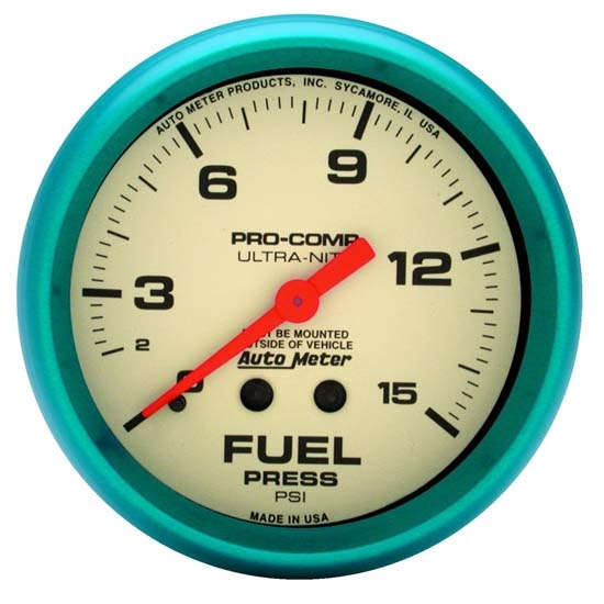 Auto Meter 4511 Ultra-Nite Mechanical Fuel Pressure Gauge, 2-5/8 Inch