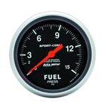 Auto Meter 3411 Sport-Comp Mech Fuel Pressure Gauge, 15 PSI, 2-5/8