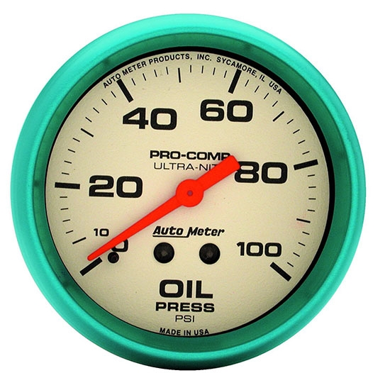 Auto Meter 4221 Ultra-Nite Mechanical Oil Pressure Gauge, 2-5/8 Inch