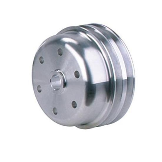 Small Pulleys : Small block chevy cast alum long pump double groove lower