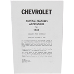 Jim Osborne 69-AL 1969 Chevy Nova Accessory Price List