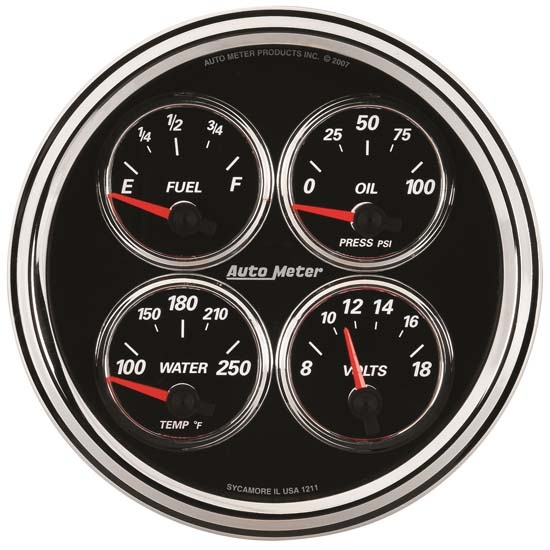 Auto Meter 1211 Designer Black II Air-Core Quad Gauge, 5 Inch