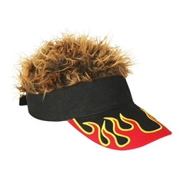 FlairHair Visor, Flame w/ Brown Hair