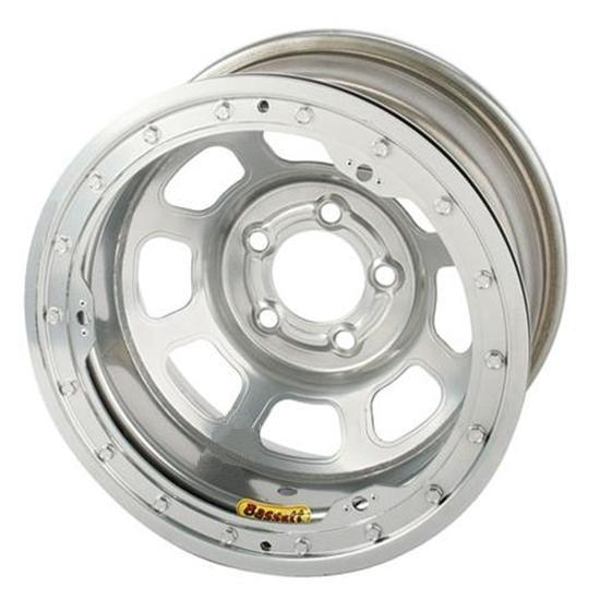 Bassett 57R52SL 15X7 Dot D-Hole 5 on 5 2 Inch BS Silver Beadlock Wheel