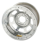 Bassett 58DJ4ISL 15X8 D-Hole 5on5.5 4 In BS IMCA Silver Beadlock Wheel