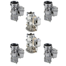 Set of 6 9 Super 7 3-Bolt 2-Barrel Carburetors, Chrome Finish