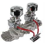 Chrome 9 Super 7® Carbs on Eddie Meyer Intake Manifold Kit, 1932-48 Ford V8