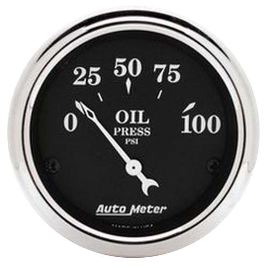 Auto Meter 1727 Old Tyme Black Air-Core Oil Pressure Gauge