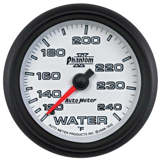 Auto Meter 7832 Phantom II Mechanical Water Temp Gauge, 2-5/8 Inch